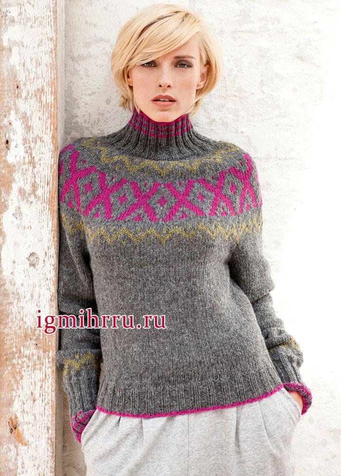 Теплый серый пуловер с круглой кокеткой, украшенной жаккардовыми узорами, от немецких дизайнеров. Вязание спицами