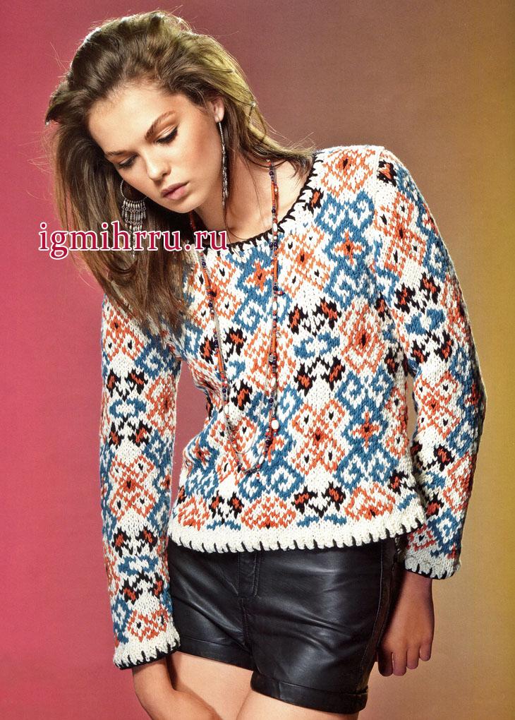 Традиционные узоры в современном прочтении. Яркий жаккардовый пуловер, от французских дизайнеров. Вязание спицами