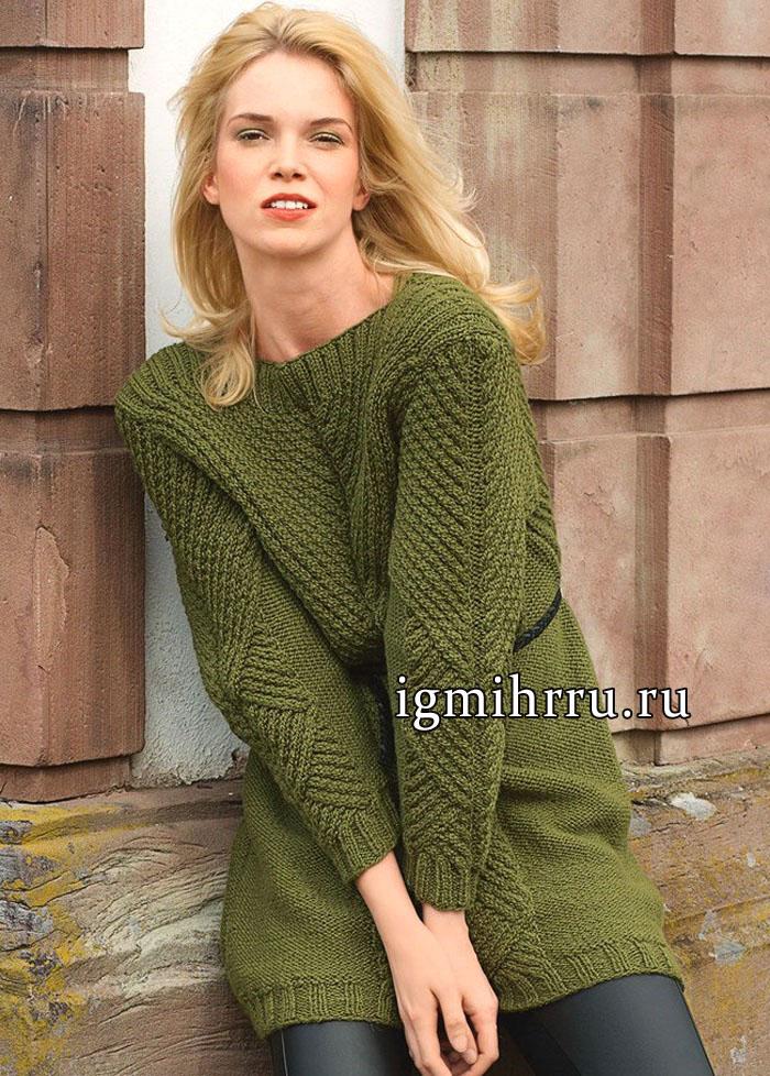 Удлиненный зеленый пуловер с V-образной кокеткой, от немецких дизайнеров. Вязание спицами
