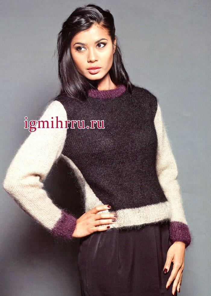 Без излишеств! Лаконичный трехцветный пуловер из мохеровой пряжи, от французских дизайнеров. Вязание спицами