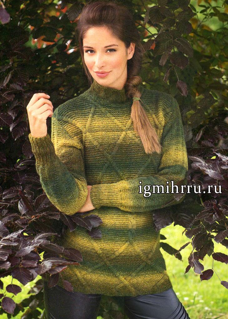 Пуловер из шерстяной пряжи с перетеканием цветом и мотивами из кос и ромбов, от немецких дизайнеров. Вязание спицами