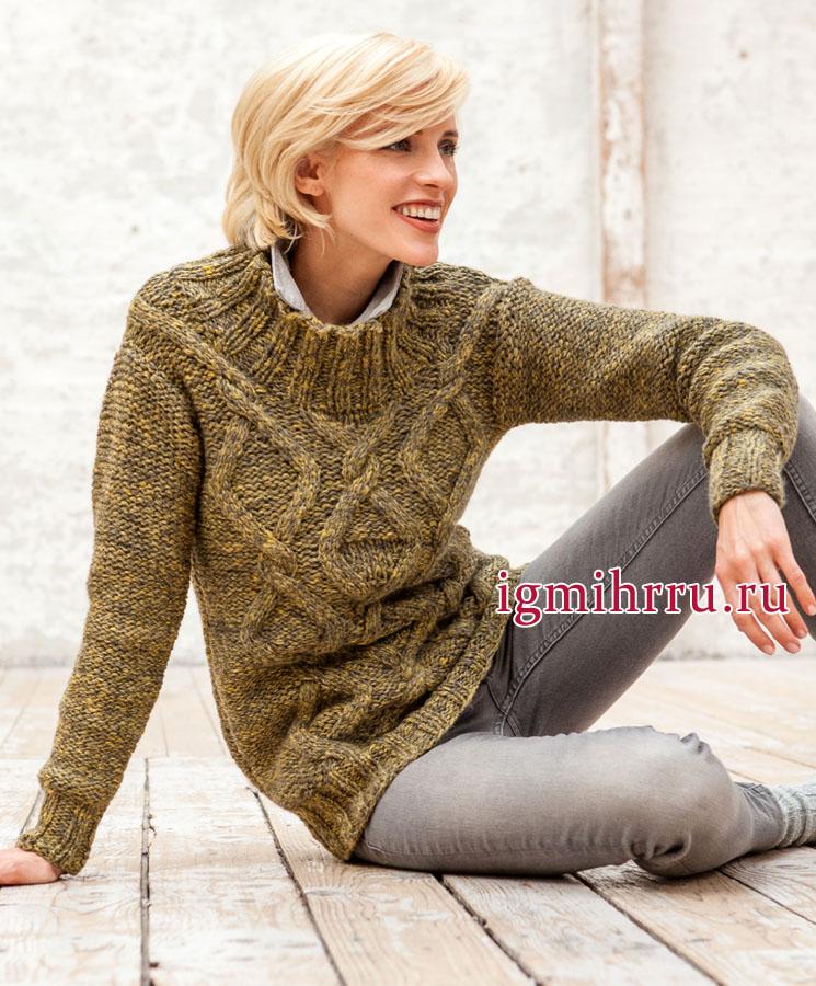 Теплый желто-серый пуловер с узором из ромбов и кос, от немецких дизайнеров. Вязание спицами
