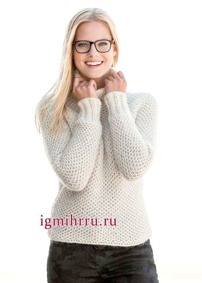 Женственный белый пуловер, выполненный патентной сеткой, с рукавом летучая мышь, от немецких дизайнеров. Вязание спицами