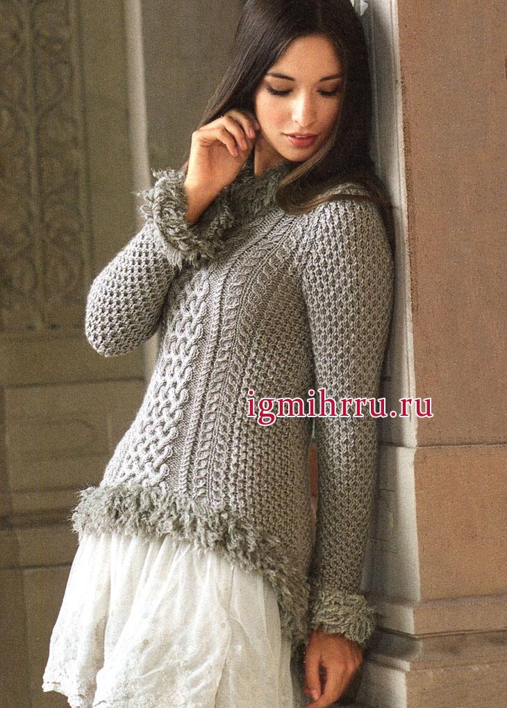 Бежевый узорчатый пуловер из мериносовой шерсти и шёлка, от немецких дизайнеров. Вязание спицами