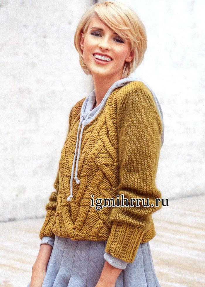 Теплый желтый пуловер с крупным структурным узором, от немецких дизайнеров. Вязание спицами