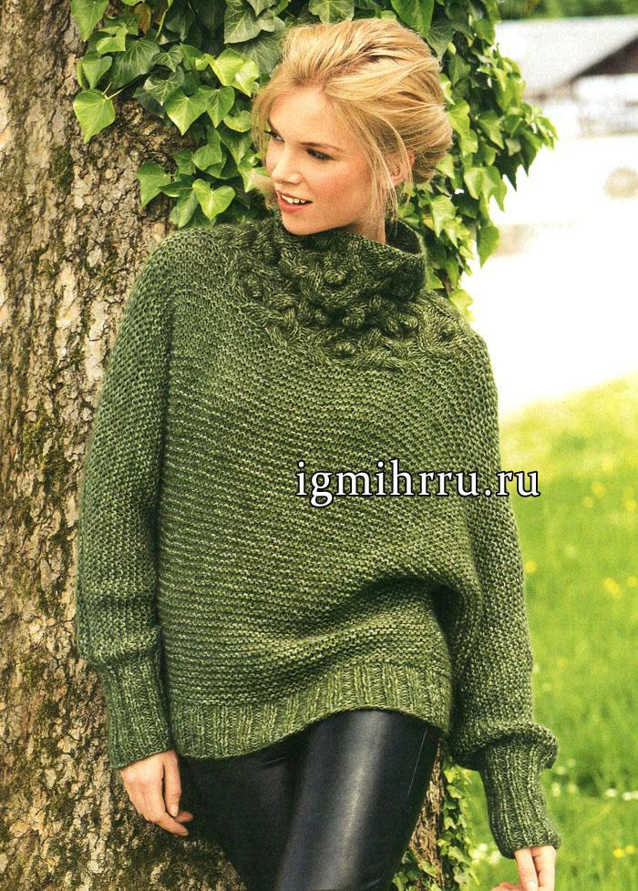 Зеленый пуловер с цельновязаными рукавами и воротником из кос и шишечек, от немецких дизайнеров. Вязание спицами