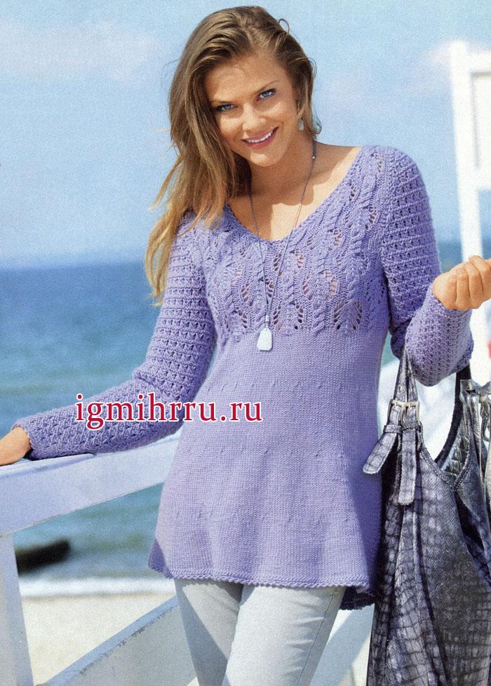 В стиле ампир. Длинный сиреневый пуловер с ажурной кокеткой. Вязание спицами