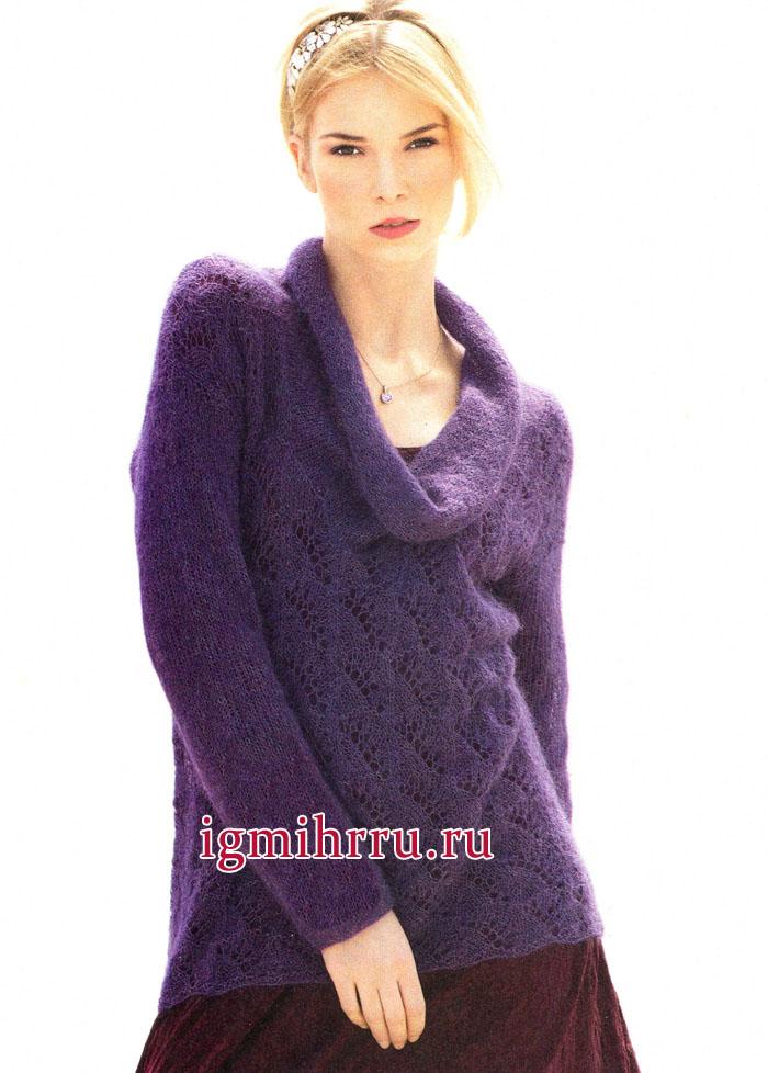 Ажурный пуловер аметистового цвета, со свободно ниспадающим воротником. Вязание спицами