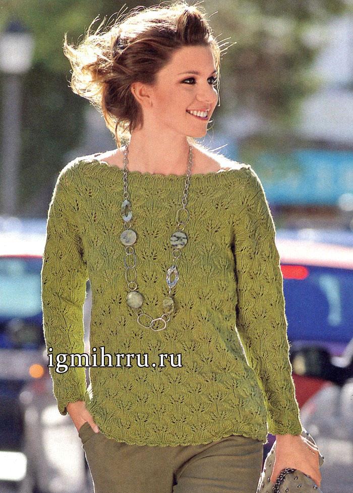 Пуловер из мягкой мериносовой шерсти лимонного цвета, с узором из листьев. Вязание спицами