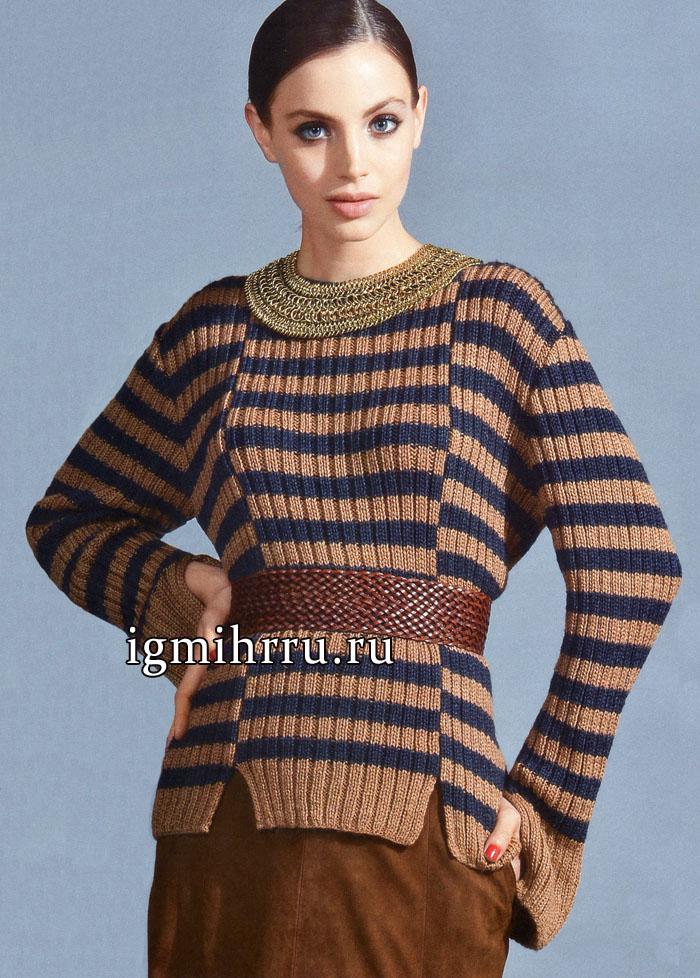 Стильный полосатый пуловер из шелковой пряжи с добавлением шерсти. Вязание спицами