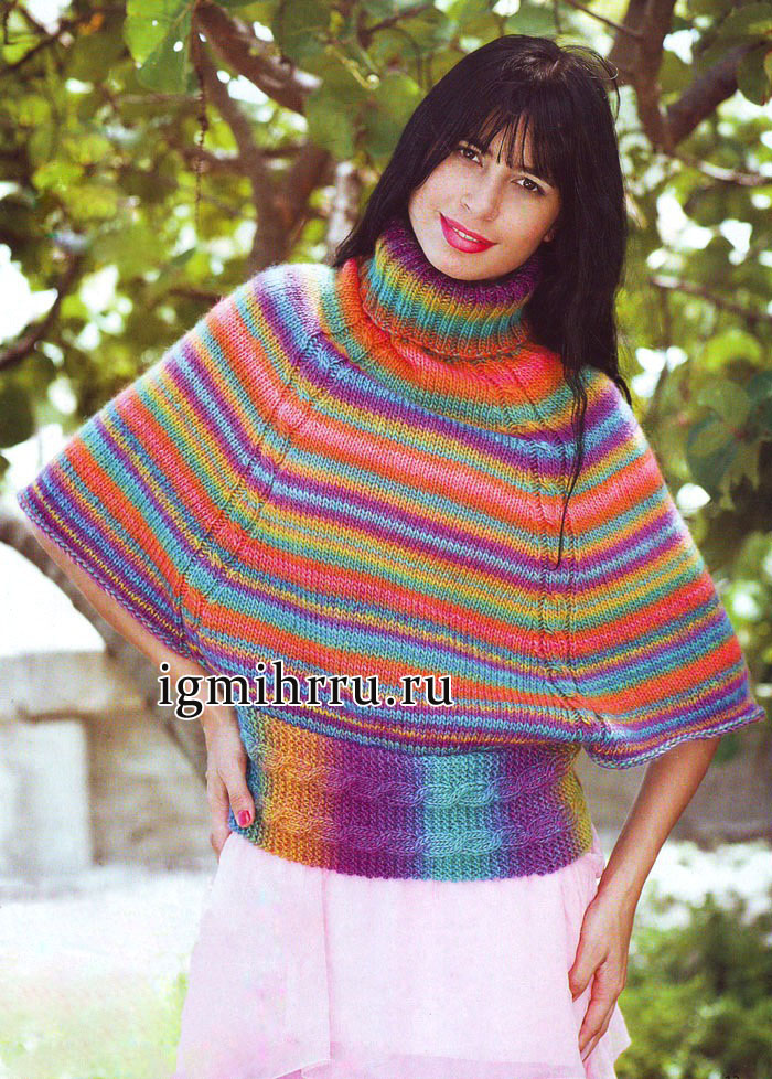 Красочный фейерверк цветов. Яркий радужный пуловер из шерстяной пряжи. Вязание спицами