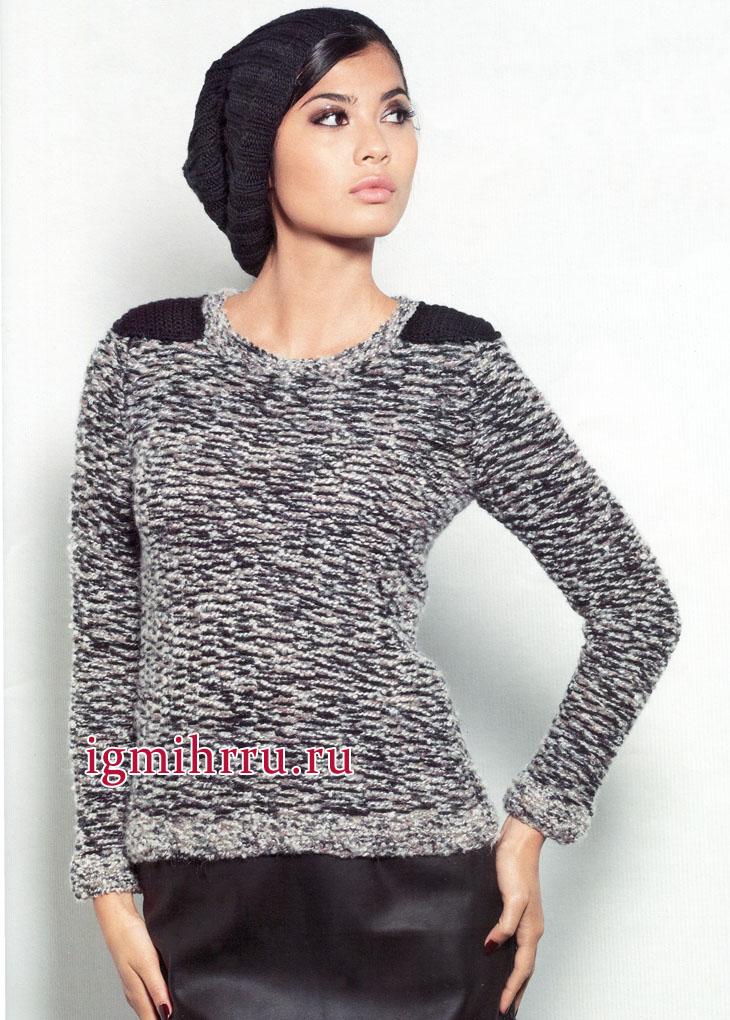 Теплый пуловер в серо-черных тонах, с эполетами. Вязание спицами