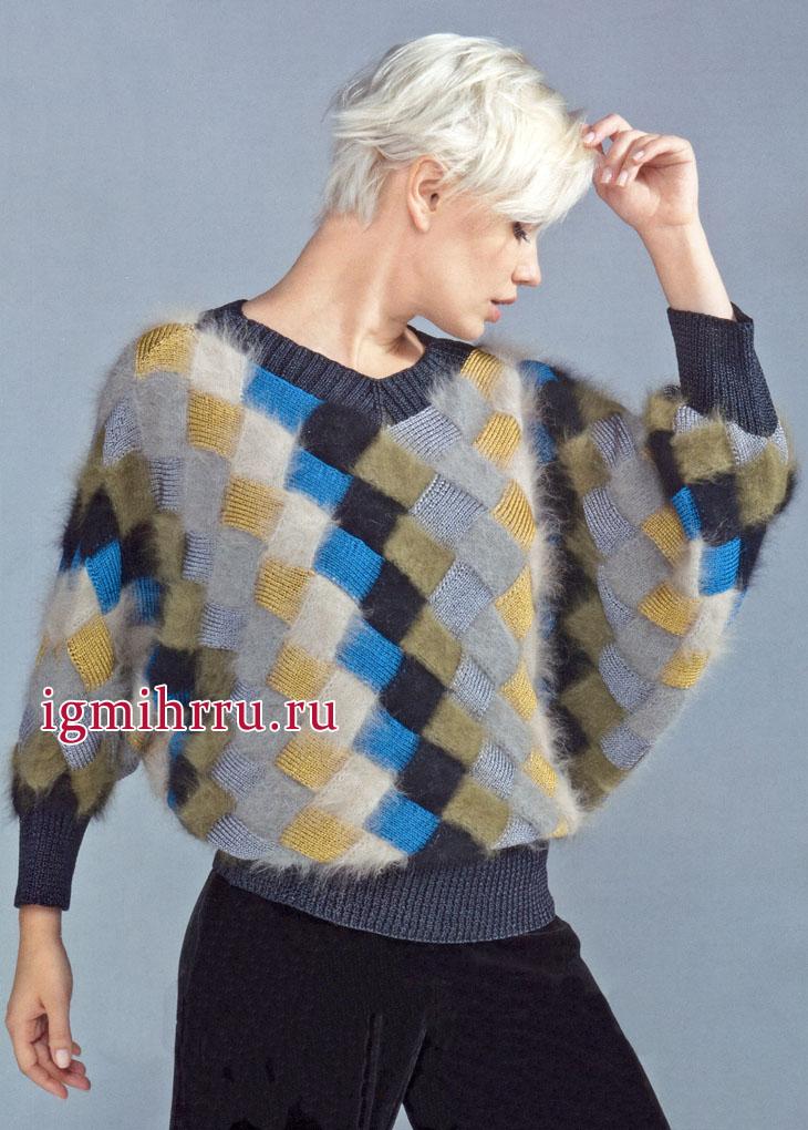 Геометрия стиля. Эффектный пуловер из ромбов разных цветов и фактур. Вязание спицами