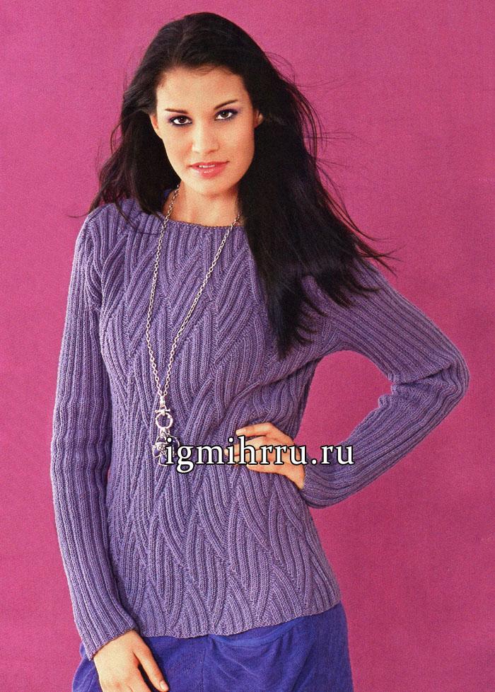 Серо-фиолетовый пуловер из мериносовой шерсти, с волнообразным орнаментом из резинок. Вязание спицами