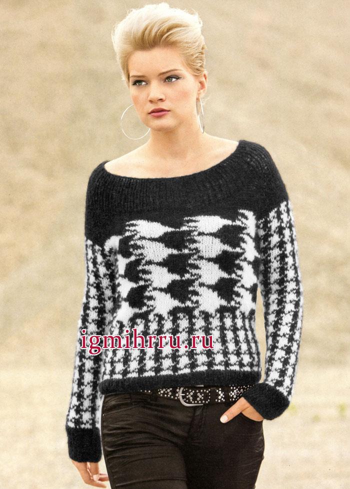 Шерстяной пуловер-реглан с узором Куриная лапка. Вязание спицами