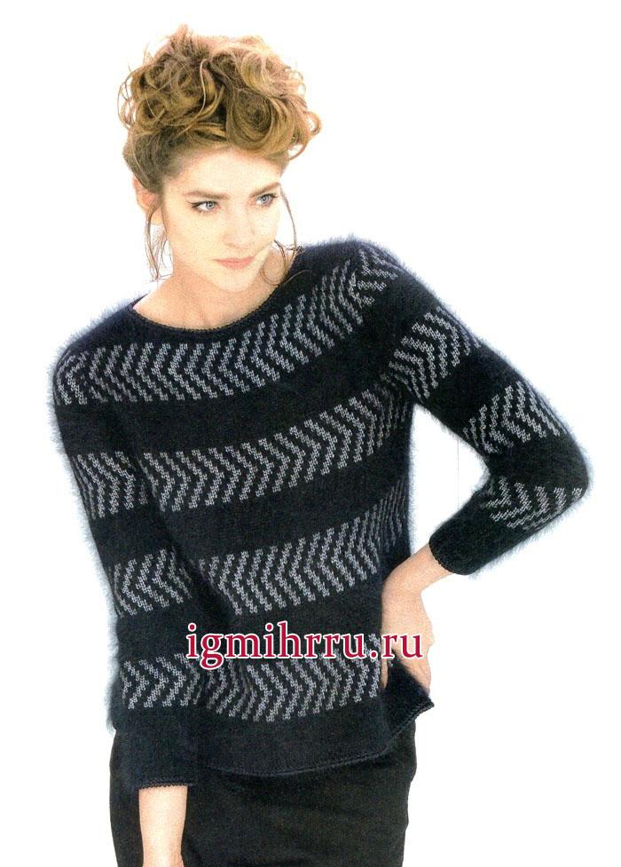 Классика цветового сочетания! Черно-белый пуловер с жаккардовыми полосками. Вязание спицами