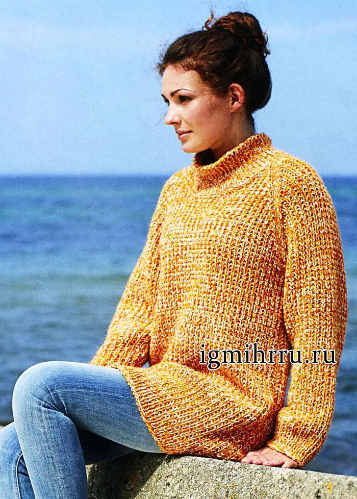 Просто, практично, тепло! Длинный оранжевый пуловер из шерсти альпака. Вязание спицами