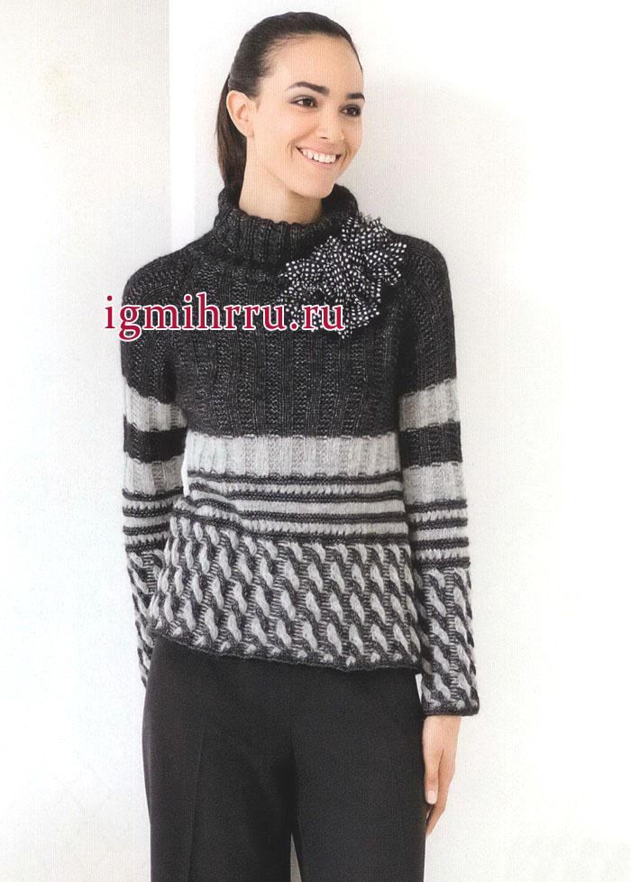 Элегантный серо-черный пуловер с витыми косами и полосами. Вязание спицами