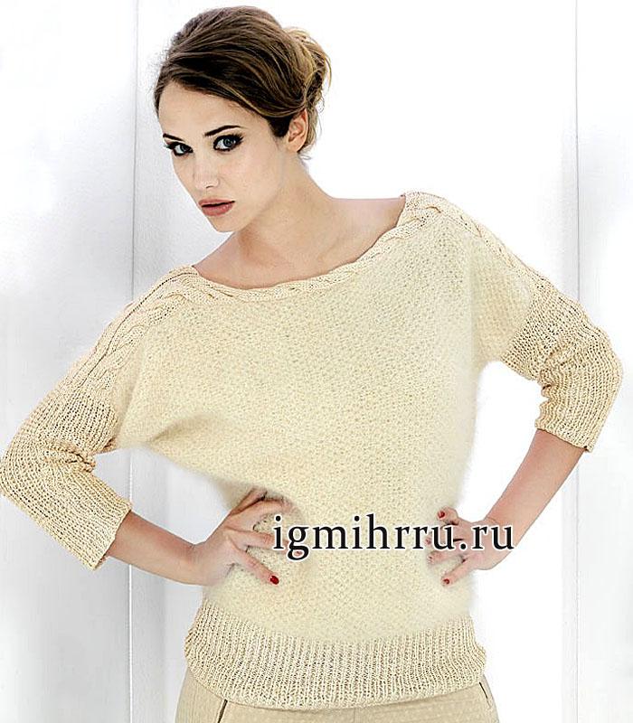 Мягкий пуловер из ангоры, в кремово-бежевых тонах, с горловиной из кос. Вязание спицами