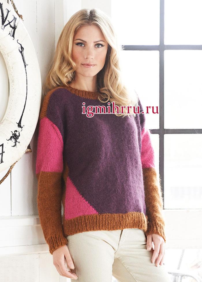Повседневная цветная геометрия. Теплый трехцветный пуловер классического кроя. Вязание спицами