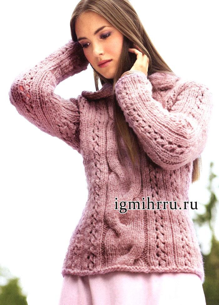 Тепло, женственно и немного небрежно! Узорчатый розовый пуловер с отложным воротником. Вязание спицами