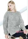 Свободный шерстяной пуловер серого цвета с несложным рельефным узором. Спицы