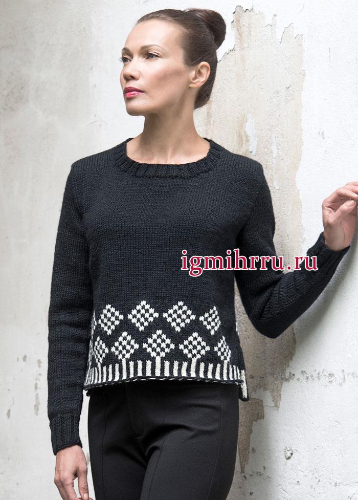 Классический черный пуловер с орнаментом из белых ромбов. Вязание спицами