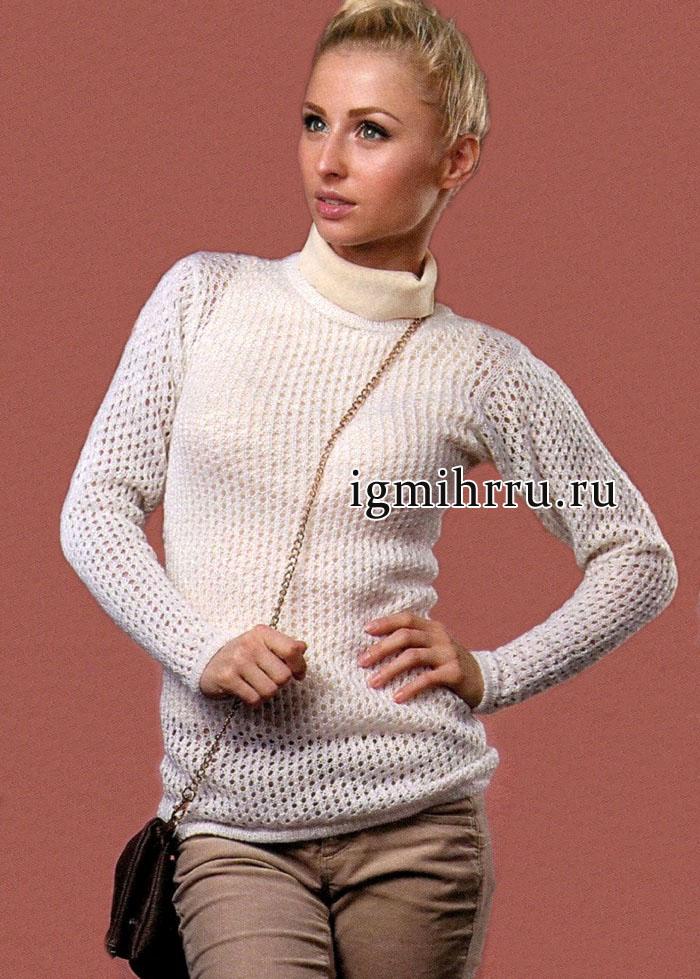 Белый ажурный пуловер из пряжи с добавлением пуха кролика. Вязание спицами