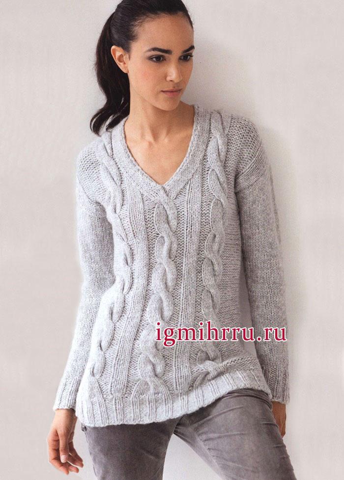 Серый пуловер из мериносовой шерсти с кашемиром, с узором из кос. Вязание спицами