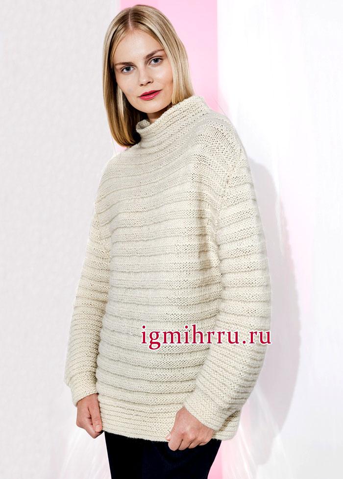 Просто, удобно, тепло! Белый шерстяной пуловер, выполненный лицевой и изнаночной гладью. Вязание спицами