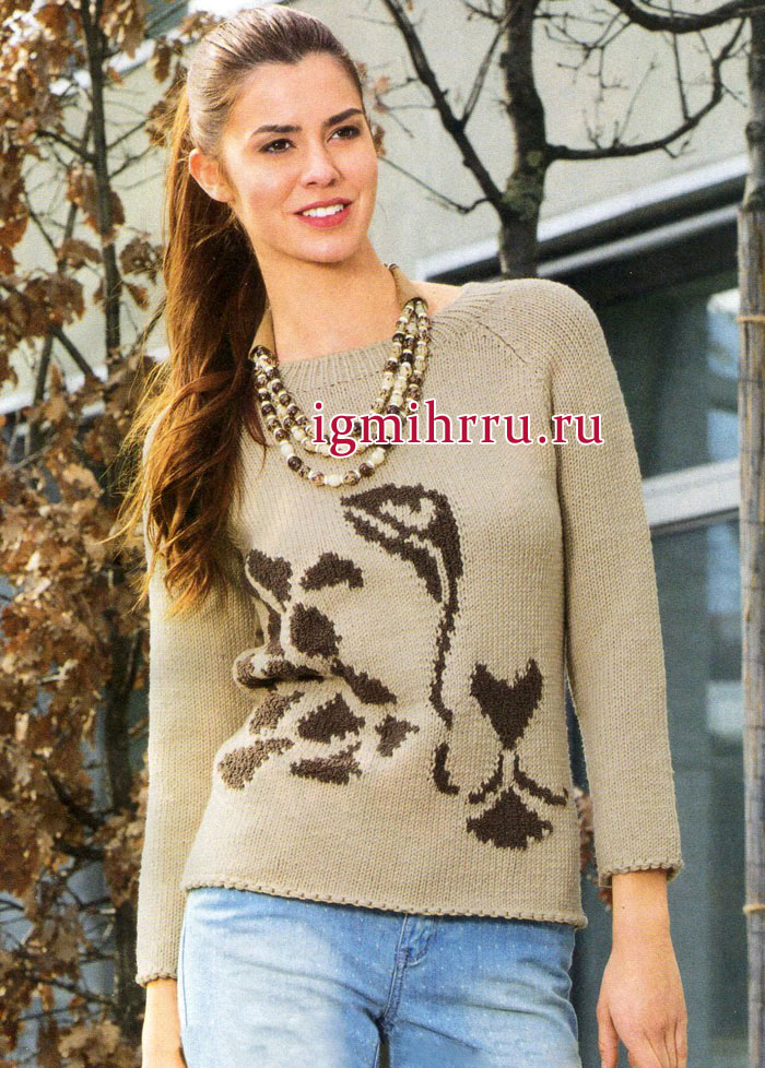 Бежевый пуловер-реглан из мериносовой шерсти, с абстрактным мотивом. Вязание спицами