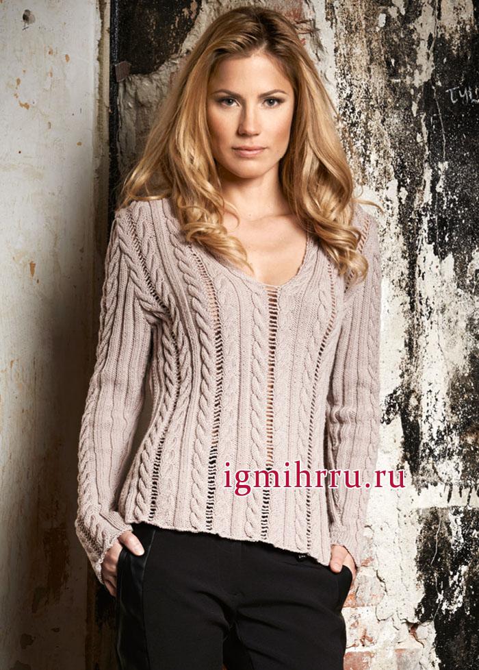 Элегантный шерстяной пуловер цвета розового дерева с привлекательным сочетанием кос и ажурных структур. Вязание спицами