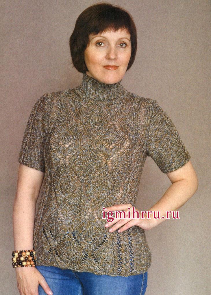 Меланжевый полушерстяной пуловер с узорами из крупных ромбов. Вязание спицами
