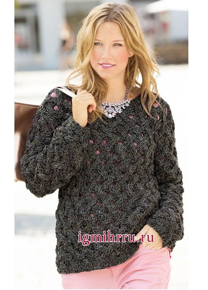 Черный меланжевый пуловер с плетеным узором. Вязание спицами