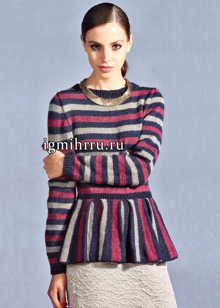 Элегантное сочетание вертикальных и горизонтальных полосок. Теплый трехцветный пуловер. Вязание спицами