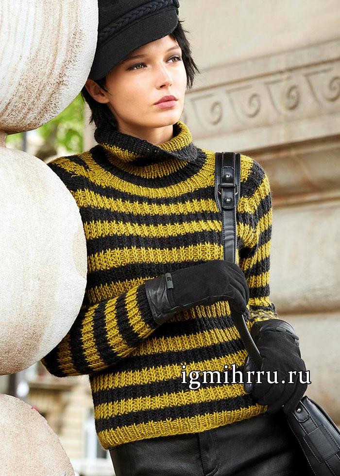 Теплый полосатый пуловер-реглан, связанный полупатентным узором. Вязание спицами