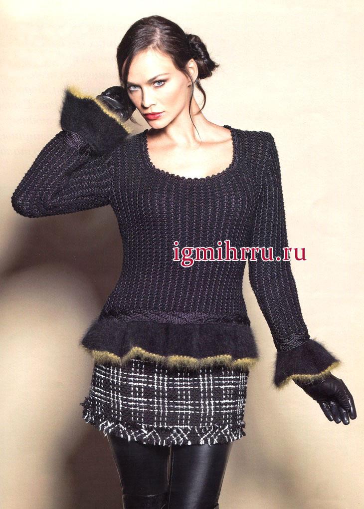 Черный пуловер из мериносовой шерсти, с фантазийным узором, косами и воланами. Вязание спицами