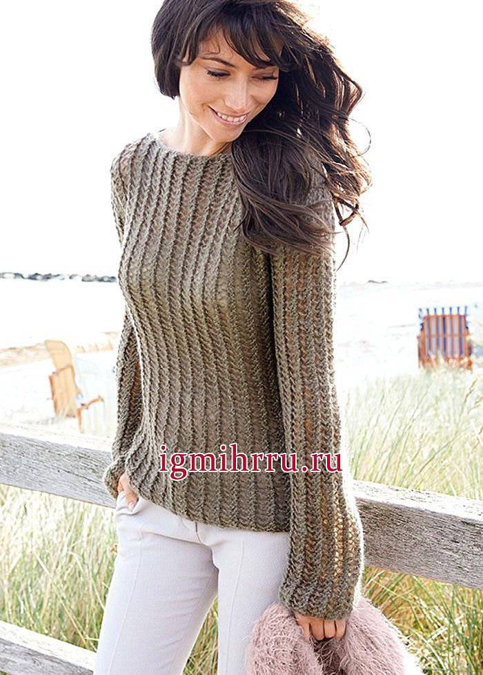 Светло-коричневый мохеровый пуловер с сетчатым узором. Вязание спицами
