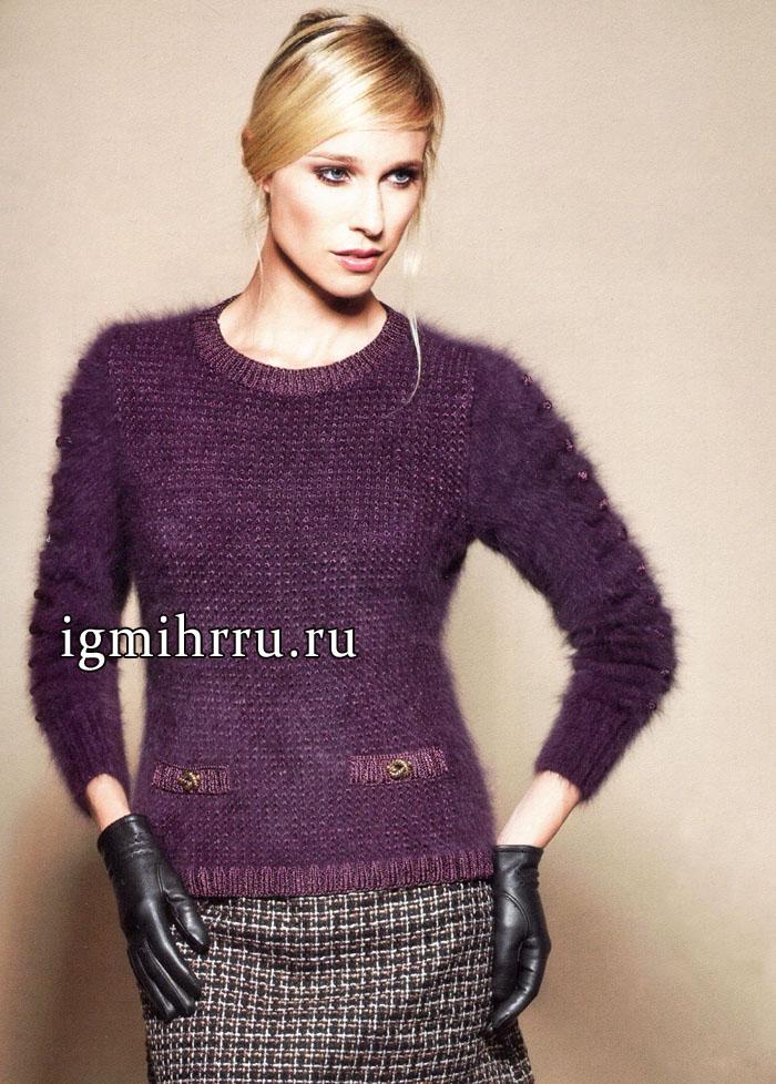 И в пир, и в мир! Мягкий пушистый пуловер фиолетового цвета, из ангоры. Вязание спицами