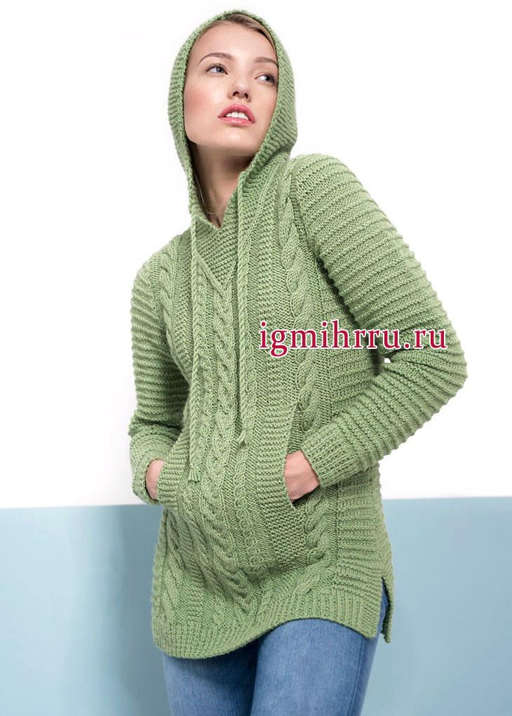 Спортивная тема. Светло-зеленый пуловер из рельефных узоров, с капюшоном и карманами. Вязание спицами
