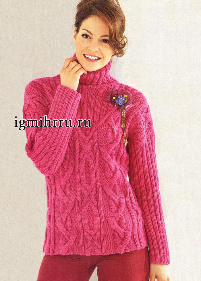 Выразительные косы и насыщенный цвет. Ярко-розовый пуловер с кокеткой и воротником. Вязание спицами