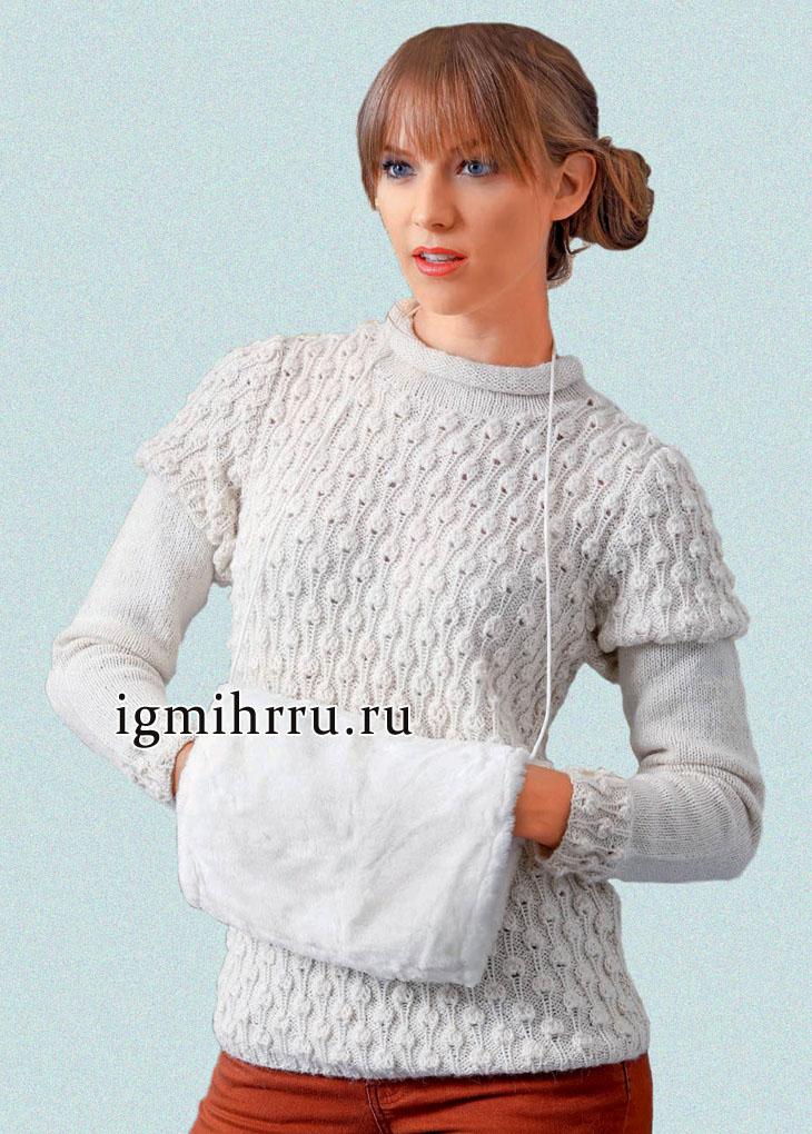 Белый пуловер с шишечками, из мягкой теплой пряжи бэби альпака. Вязание спицами