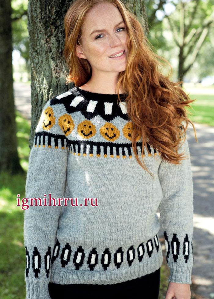 Теплый пуловер с веселыми смайликами на кокетке. Вязание спицами
