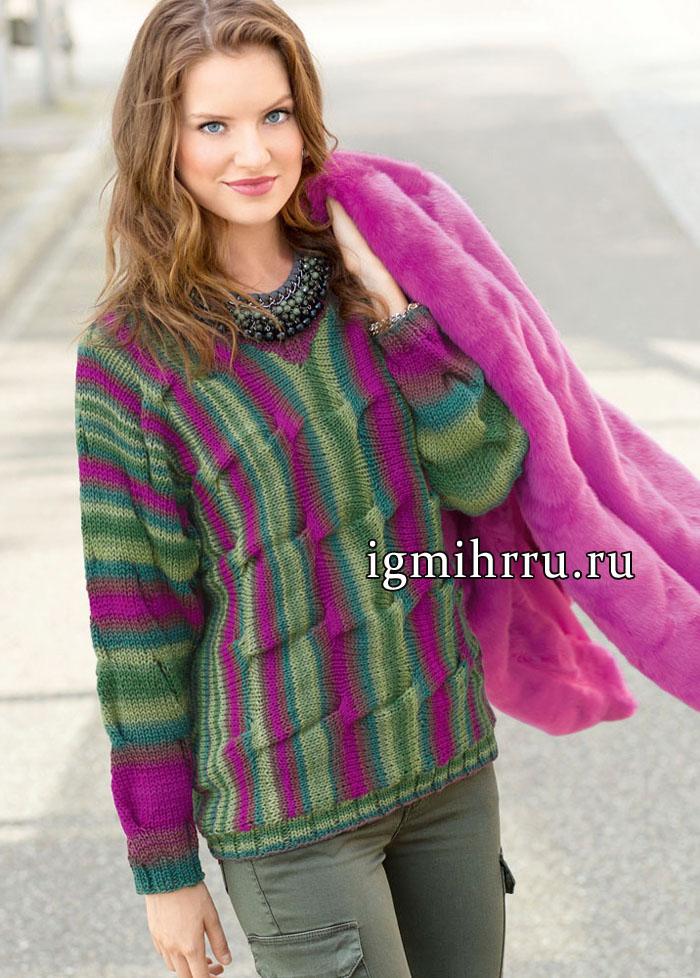 Разноцветный шерстяной пуловер со складками, связанный поперек. Вязание спицами