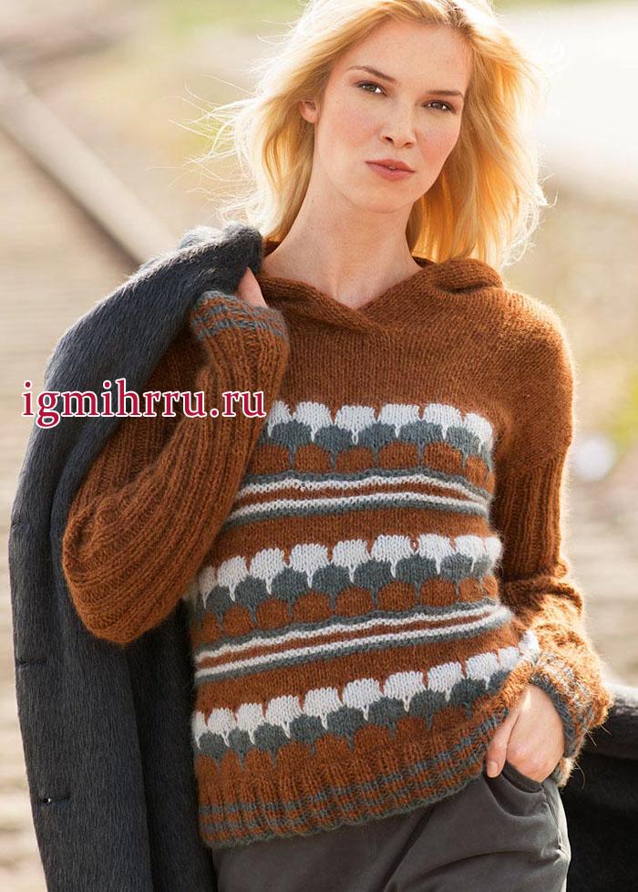 Мягкий и теплый пуловер рыже-серого цвета с жаккардовыми узорами. Вязание спицами