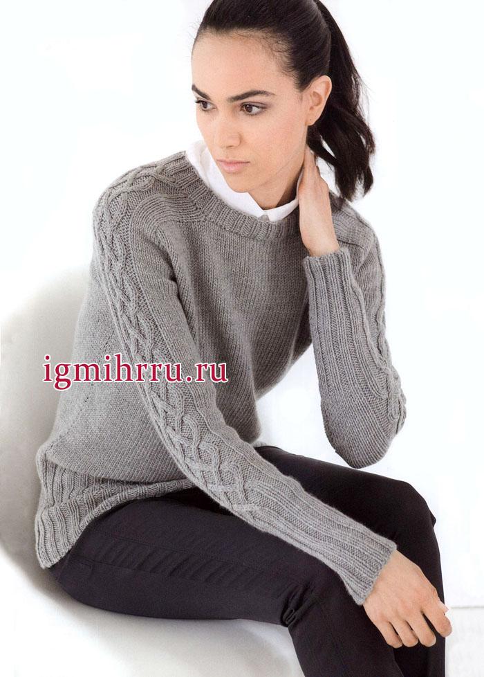 Серый пуловер из тонкой мериносовой шерсти и кашемира, с плетеным узором на рукавах. Вязание спицами