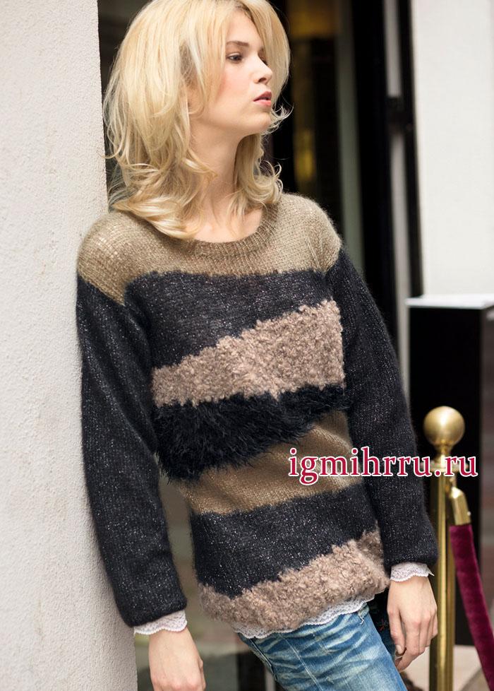 Теплый пуловер с интарсиями, из трех видов пряжи. Вязание спицами