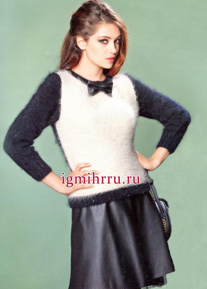 Мягкий и пушистый, черно-бежевый пуловер с зернистым узором. Вязание спицами