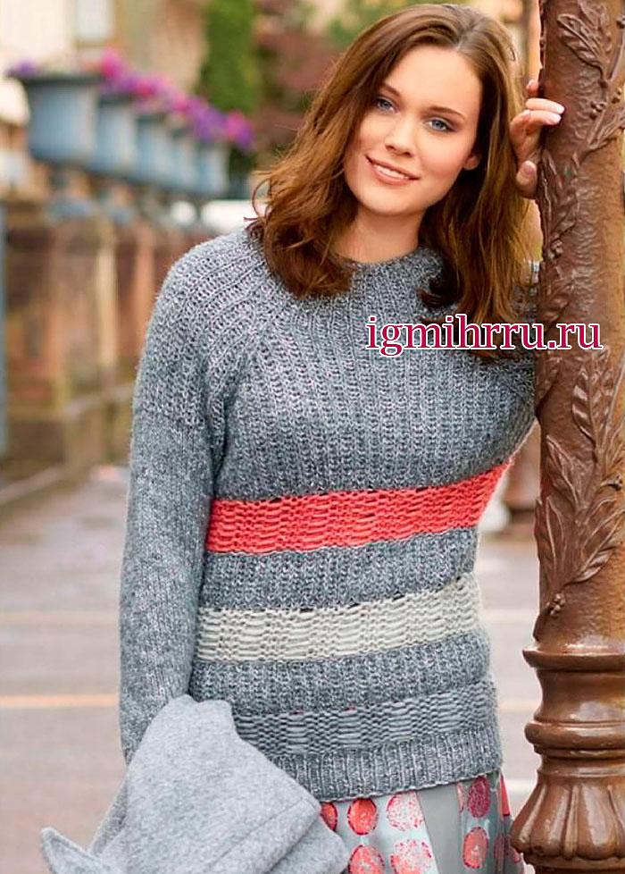 Серый пуловер-реглан с цветными полосами. Вязание спицами