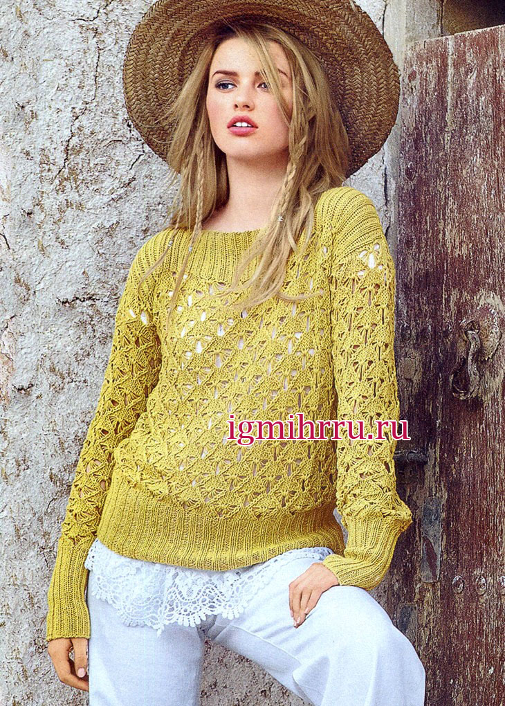 Горчично-желтый пуловер с ажурными ромбами. Вязание спицами